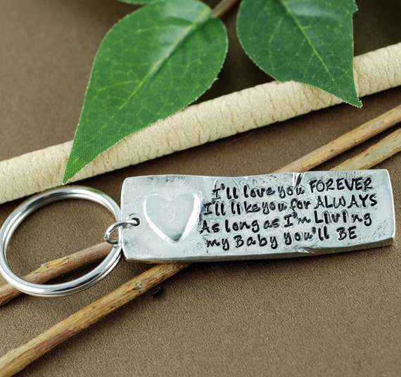 I'll love you forever I'll like you for always | Personalized Key chain | Pewter Keychain | Gift for Mom | New Mom Gift | Keychain Gift