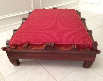 Pet Bed, Large Carved Mahogany Stained Wood