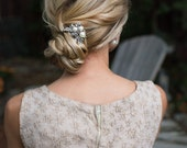 Vintage Style Pearl Hair Pin, Pearl Crystal Floral Hair Pin, Wedding Silver Vintage Hair Pin, 1920s Gatbsy Hair Accessory - 'NOVA'