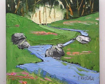 California Impressionist Plein Air MEADOW STREAM Landscape o/c Painting Art Lynne French 10x10