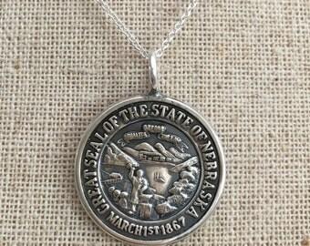 Nebraska Necklace, Nebraska Spoon Necklace, Spoon Jewelry, Nebraska Jewelry, Nebraska charm, Nebraska Seal, Nebraska Pendant, Wife Gift