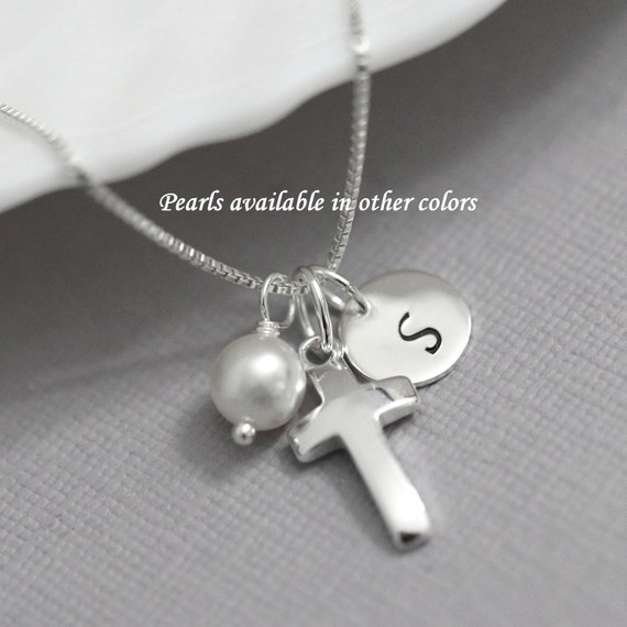 Baptism Gift Personalized Cross Necklace Sterling Silver