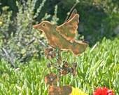 Bird Garden Stake / Metal Yard Art / Copper Garden Art / Patina / Handmade / Ornament / Artist Favorite / Gift / Sculpture / Outdoor Decor