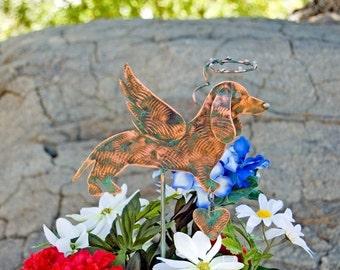 ON SALE Dachshund Stake / Metal Garden Art / Pet Memorial / Copper Art / Angel Decoration / Indoor Outdoor / Dog Sculpture / Pet Ornament /