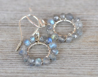 Labradorite Hoop Sterling Earrings - Wire Wrapped semi precious stone small hoops, rainbow moonstone, tons of flash, dainty, delicate, tiny