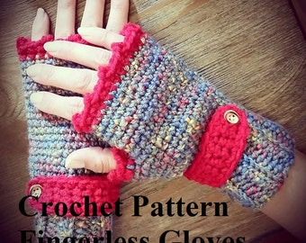 Crochet Pattern- Fingerless Gloves, Crochet Gloves Pattern, Fingerless Glove Pattern, Crochet Pattern, Women's Fingerless Gloves