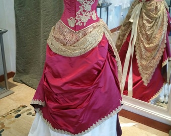 Red and Gold Silk Lace Corset Fantasy Wedding Gown Size 10