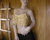 Feathered scale-mail Cream leather halter top, deerskin leather with hand cut leather feathers, crisscross ties in back, one size fits most