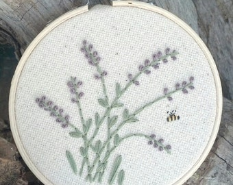 Lavender Bee Embroidery Art