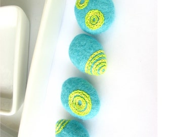 Felted wool beads // flat wool beads // bright yellow and bright green circle ornaments// Perfect for bracelet, necklace, textile decoration