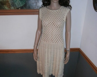 Womens  Dress- Crocheted Hand Made -Knit Off White Vintage Womens Dress