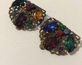BEJEWELED SHOE CLIPS Pair Dress Clips Vintage Clips Hollywood Regency, Glamour, Supplies Blue Green Red at A Vintage Revolution