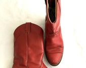 Vintage RED LEATHER Cowboy Cowgirl Western Boots - Distressed Laredo Roper Boots - Womens Size 8