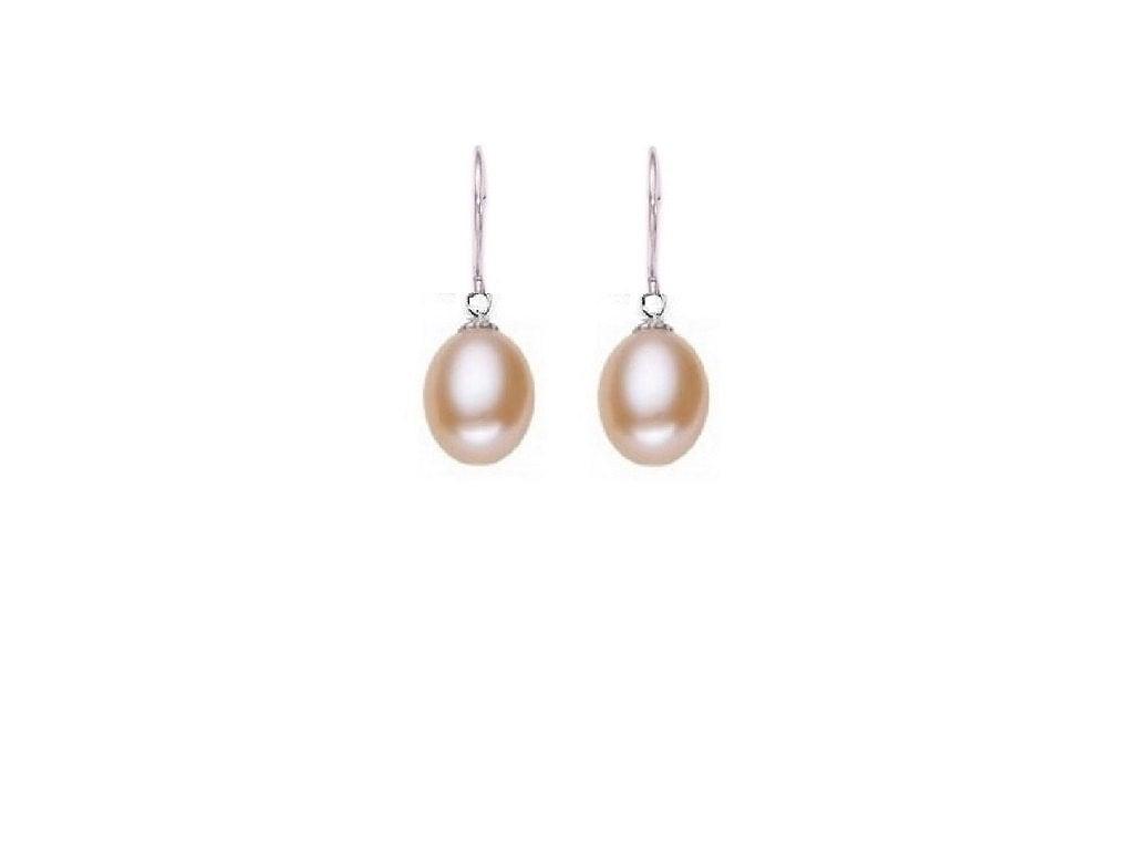freshwater pearl earrings 9mm pearls sterling