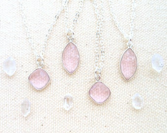 Rose quartz necklace sterling silver chain rose quartz pendant rose quartz crystal jewelry