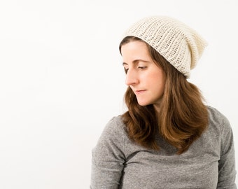 READY TO SHIP - Women's Chunky Slouch Hat, Slouchy Knitted Wool Beanie, Winter Ski Hat, Timbers Hat (Cream)