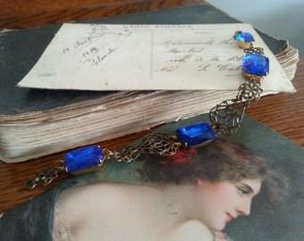 Art Nouveau style Sapphire blue Swarovski and Vintage Rhinestone bracelet Downton Abbey Edwardian jewellery