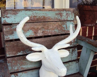 Shabby Chic Deer Head Mount Large Antlers Distressed Antique Off White Rustic Farmhouse Nursery French Country