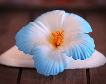 Blue Hibiscus Hair Clip, 2 3/4 Inch,  Hair  Flower, Beach Wedding, Hibiscus, Foam Flower