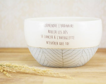 Coffee bowl with love quote. Large ceramic bowl, blue and white, pastel and patterns. Cafe au lait bowl, fruit bowl, prep bowl