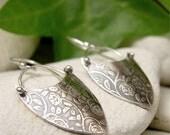 Rustic Rose Earrings, Sterling Silver Dangle Earrings, Flower Textured Silver Drop Earrings, Shield Earrings, Boho Earrings, Hippy Jewelry