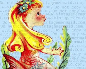 VINTAGE MERMAID PRINT Baby Mermaid Applique Baby Fabric Block tlm48.