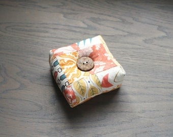 Modern Square Pincushion Autumn Colors Pin Keep Scrappy Pin Cushion