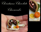 Luxury Christmas Cheesecake - Artisan fully Handmade Miniature in 12th scale. From After Dark miniatures.