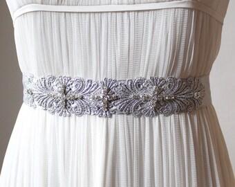 Melita Bridal Belt, Silver Bridal Belt, Boho Wedding Belt Sash, Elegant Wedding Belt, Bohemian Bridal Silver Belt, Silver Lace Satin Belt