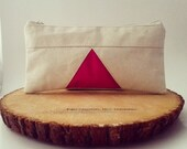 BLACK FRIDAY - Triangle Pencil Case, Cotton Pouch, Gadget Case, Geometric, Natural, Cotton, Hot Pink