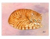 cat painting, cat art print - a sleeping cat's pink dream - wall art home decor nursery room desk decoration, cat lover's gift