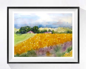 Farm landscape Art Watercolor Print Vibrant yellow Safflowers art print California farms Oil crop countryside painting pink painting