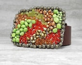 Sample Sale Belt Buckle in Neon Lime Green Turquoise & Orange Carnelian-Beaded Buckle Wired with Sterling Silver by Sharona Nissan