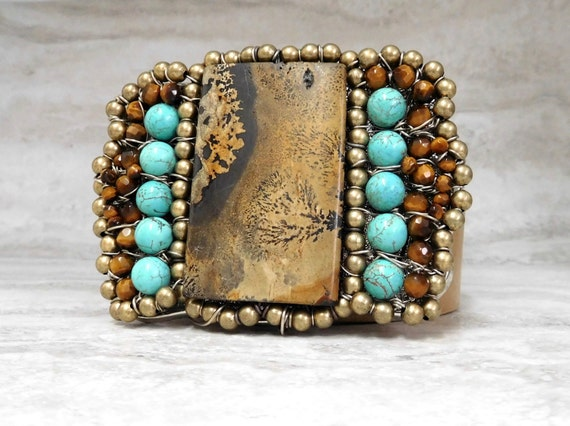 Large Turquoise Buckle-Native American Inspired Womens Belt  Buckle with Huge Brown Stone