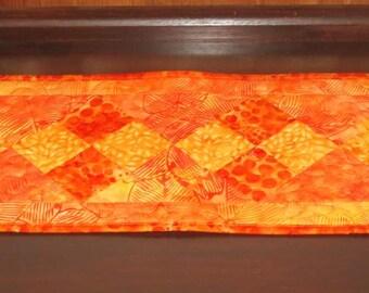 Skinny Mini Table Runner, Orange Batiks