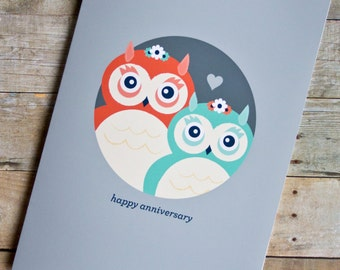 Lesbian/Same-Sex Happy Anniversary Owls Card