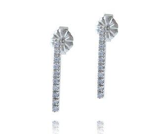 Diamond Bar Earrings, 14K Diamond Earrings, Bridal Earrings, Geometric Diamond Earrings, Pave Diamond Bar Earrings