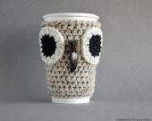 Owl Coffee Cozy, Coffee Sleeve, Owl Coffee Mug Cozy, Crochet Coffee Cozy, Crochet Coffee Sleeve, Crochet Coffee Cup Cozy