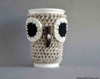 Owl Coffee Mug Cozy, Crochet Coffee Cozy, Coffee Sleeve, Crochet Cup Cozy, To Go Coffee Cup Sleeves, Coffee Sleeves, Coffee Gifts Cup Sleeve