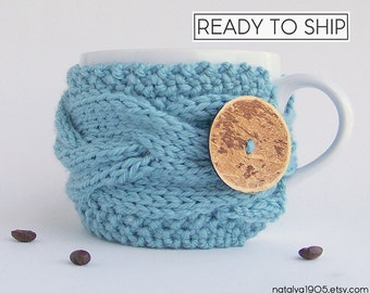 Coffee Cozy, Tea Cozy, Coffee Cup Cozy, Coffee Cup Sleeve, Coffee Mug Cozy Coffee Mug Sleeve, Coffee Sleeve Knit Mug Cozy, Baby Blue Gifts