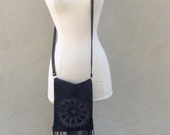 Black Mandala Vintage Leather Fringed Cross Body Bag