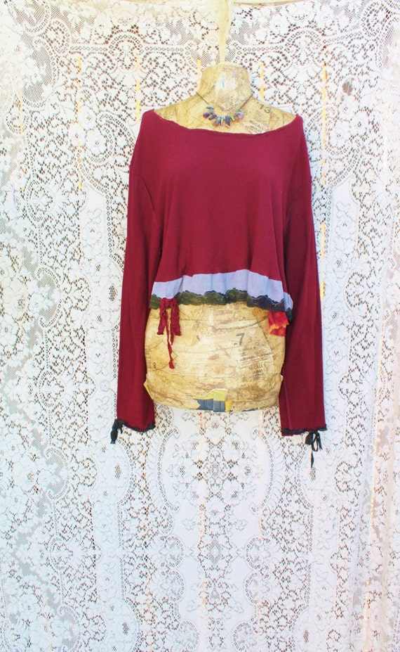 Large Upcycled Shirt/Fairy Earth Mother/Burgundy Shirt/Upcycled Clothing/Memphis Baby Cowgirl/Cowpunk/Maternity/Babydoll/Longsleeve shirt