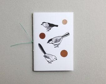 Birds songbirds nature hand-bound illustrated notebook sketchbook customised personalised