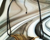 Antique Gold Topaz Crystal Leaf Pendant Braided Leather Necklace