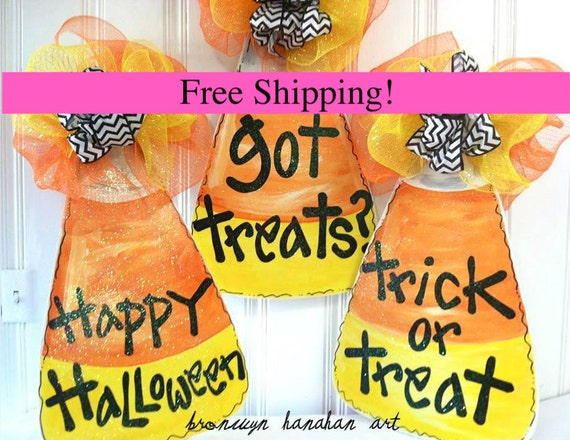 FREE SHIPPING - Candy Corn Door Hanger - Bronwyn Hanahan Art
