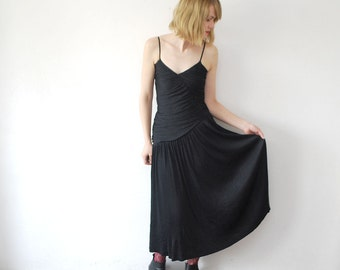 SALE...80s black strap dress. midi party dress. drape gothic dress - small to medium