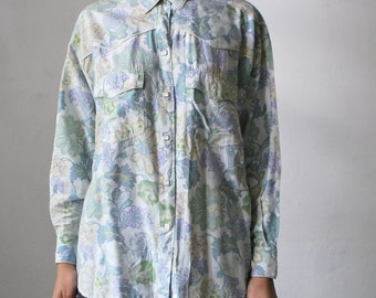 SALE...80s Cacharel Western shirt. pastel floral shirt. snap button shirt - medium to large