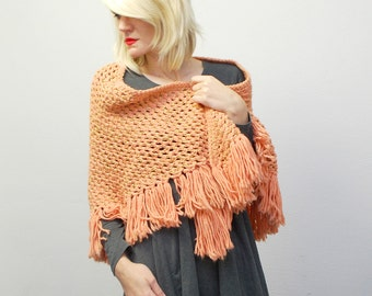 SALE...70s peach and gold crochet shawl with fringe