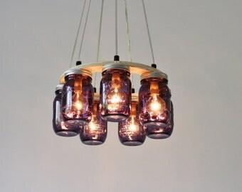 Mason Jar Chandelier Ring Lighting Fixture, 8 Ball Heritage Collection Purple Pint Jars