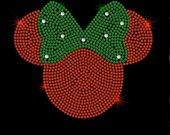 """7.1"""" red Minnie Mouse iron on rhinestone Christmas holiday TRANSFER for Disney t-shirt"""